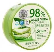 Многофункциональный гель с алоэ вера 98% 3W CLINIC Aloe vera soothing gel 300г: фото